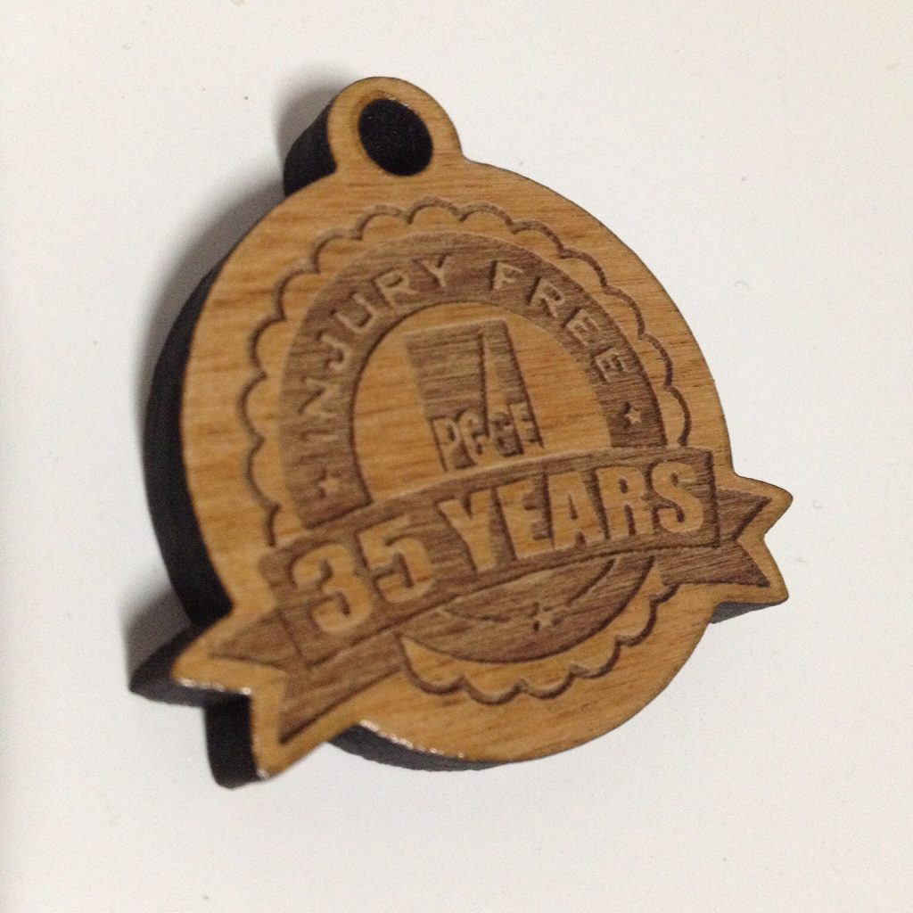 PG&E Wooden Engraved Keychain
