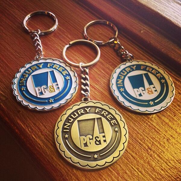 PG&E Injury Free Metal Keychains